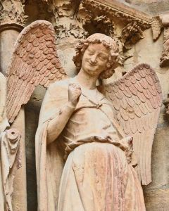 A smiling Angel Gabriel from Reims Cathedral