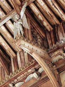 An angel on a hammer beam at the Church of St Agnes, Cawson, Norfolk. (Photo by Michael Rimmer)