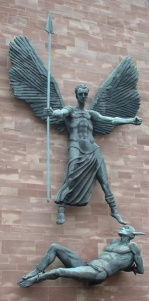 Sir Jacob Epstein's bronze statue for Coventry Cathedral of Michael.
