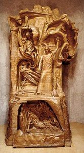 "The monumental wooden statue, ""Representative of Man"", carved by Rudolf Steiner and Edith Maryon."