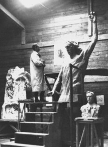 "Rudolf Steiner in his studio, working on the statue ""Representative of Man""."