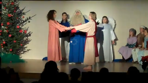 A photo of trainee teachers at Antioch University performing the Paradise Play.