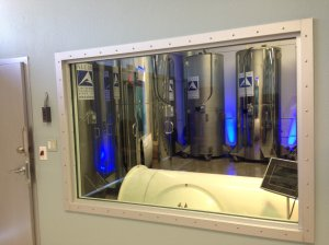 View from Alcor's conference room into the cryonics holding bay. Photo courtesy of i09.com